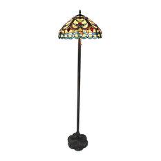 """HAYDEN, Tiffany-style 2 Light Crystal Design Floor Lamp, 18"""" Shade"""