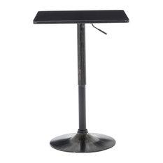 Adjustable Height Metal Bar Table Swivel Square Woodtop Golden Black