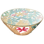 Jo-Liza International - Meadow Table - handwoven muliti colred seagrass table with butterfly and flower designs