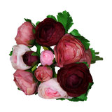 Artificial Pink and Red Camellia Posy Flowers