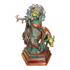 Mogulinterior - Fluting Krishna Brass Statue God of Love Divine Joy Idol Figurine India - Decorative Objects And Figurines