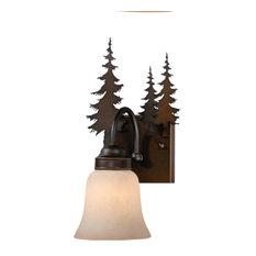 Bryce 1 Light Bronze Rustic Deer Bathroom Wall Fixture, Tree, 1-Light