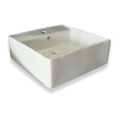 "Square Ceramic Sink With Overflow Valve, White, 18.5"""