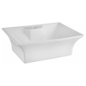 Flared Rectangular Basin, White Ceramic With 1 Tap Hole, Simple Modern Style