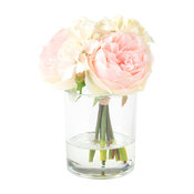 Pure Garden Hydrangea and Rose Floral Arrangement, Pink and Cream