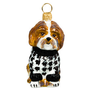 Shih Tzu Brown And White In Hounds Tooth Sweater Ornament