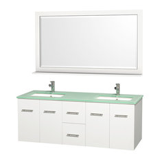 """Wyndham Collection 60"""" Centra White Double Vanity With Square Porcelain Sink"""