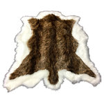 Fur Accents - Fur Accents Double Deer Pelt Faux Fur Area Rug Throw Rug Original Designs USA, 5 - Natural Golden Brown and White Border Double Deer Skin Pelt Rug - Bear Skin - Animal Hide Shape Throw - Thick Premium Quality Fur Face with Soft Ultra Suede Back  -  Unique Art Rug Designs by Fur Accents - the Mindful Alternative - USA Made