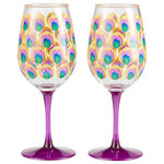 """Enesco - """"Proud as a Peacock"""" Set of 2 Acrylic Wine Glass by Lolita - Strut your stuff with this this feather inspired acrylic wine glass. A peacock's plumage, has been known to attract a mate or two."""