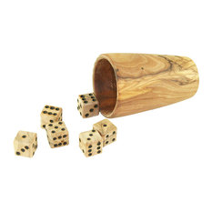 Olive Wood Dice and Dice Cup, 7-Piece Set