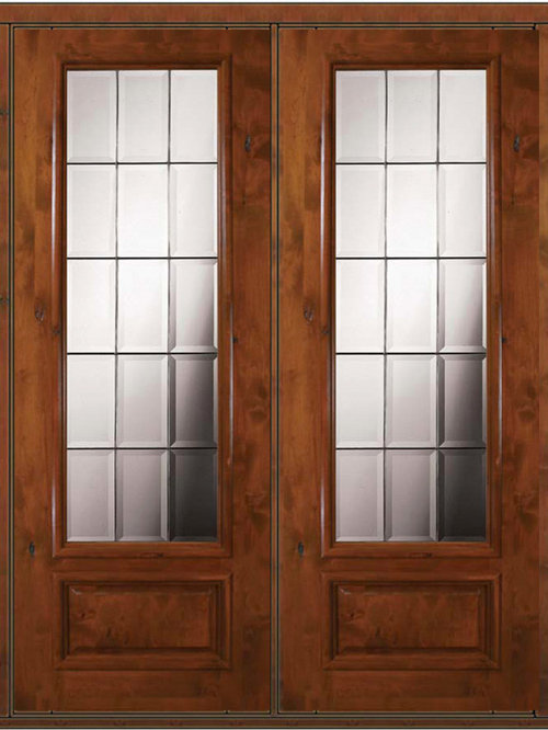 3 4 lite french doors for Double entry patio doors