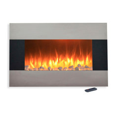 """Northwest - 36"""" Stainless Electric Fireplace with Wall Mount and Floor Stand by Northwest - Indoor Fireplaces"""