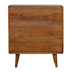 3-Drawer Curved Chest of Drawers, Chestnut, 70x35x80 cm