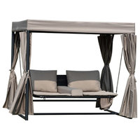 Barcelona Swing Bed With Shelter And Curtains Wicker Patio Set