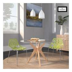 Leisuremod Modern Asbury Dining Chair With Chromed Legs, Set of 2, Green