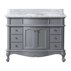 "Norhaven 48"" Vanity, Gray, White Round, Without Mirror"