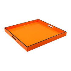 Lacquer Large Square Tray, Orange/Black Trim