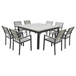 Urban Furnishing - Eco-Wood Square Table Outdoor Patio Dining Set, 9-Piece Set - - Sleek Ultra Modern Design with Weathered Eco-Wood Slats - Weathered Brown