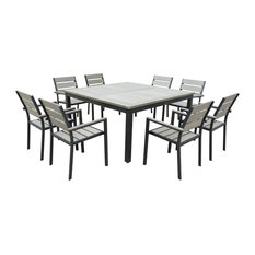 Eco-Wood Square Table Outdoor Patio Dining Set, 9-Piece Set