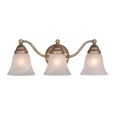 Standford 3-Light Vanity, Antique Brass/Alabaster Glass