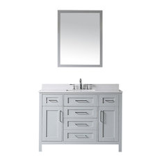 "Tahoe Single Vanity Set with Mirror, 48"", Dove Gray With Yves Marble Top"