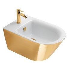 Gold and Silver Newflush Wall-Hung Bidet, Gold/White Gloss