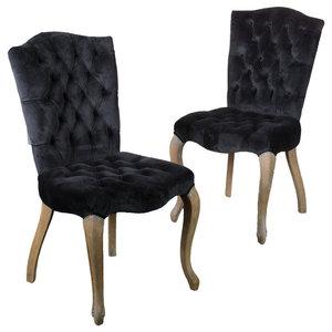 GDF Studio Fernand Velvet Black Dining Chairs, Set of 2