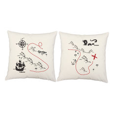 """Nautical Throw Pillow Covers/Cushions, Set of 2, White Indoor/Outdoor, 16""""x16"""","""