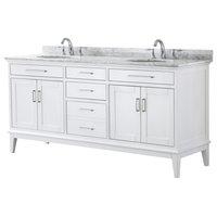 "72"" Double Bathroom Vanity, White,Carrara Marble Top,Oval Sinks,No Mirror"