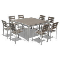 9-Piece Outdoor Patio Furniture Set, Aluminum Polywood Resin