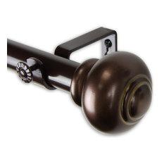 "Dani 1"" Curtain Rod, Black, Bronze, 120""-170"""
