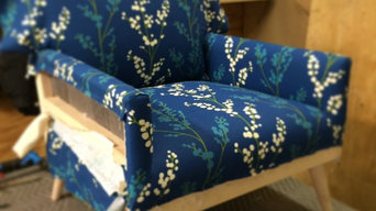 Custom Made Wooden Chair BLUE FABRIC