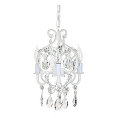 Amalfi Decor - Tiffany 3-Light Mini Beaded Crystal Chandelier, White - Chandeliers
