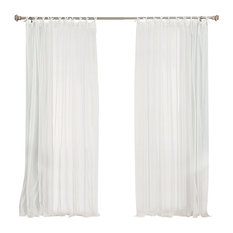 Best Home Fashion Tulle Lace Tie Top Curtain Panels Curtains