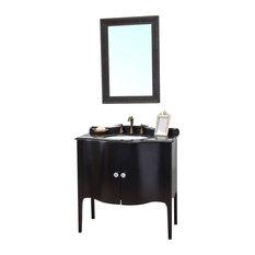 36.6 Inch Single Sink Vanity-Wood Black