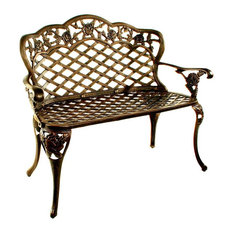 Love Seat Bench w Arms & Cabriole Legs w Tea Rose Accents