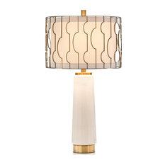 Table Lamp JOHN-RICHARD Transitional Round Shade 1-Light White