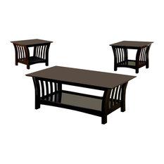 Wooden 3-Piece Table Set, Black
