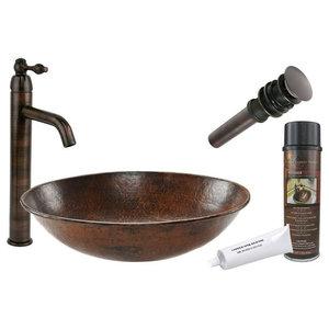 Oval Wired Rimmed Vessel Hammered Copper Sink, Orb Vessel Faucet