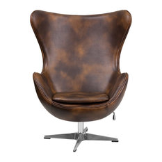 Offex - Offex Bomber Jacket Leather Egg Chair With Tilt, Lock Mechanism - Armchairs and Accent Chairs