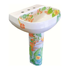 Hand Painted Aloha Handpainted Pedestal Sink, Limited Edition