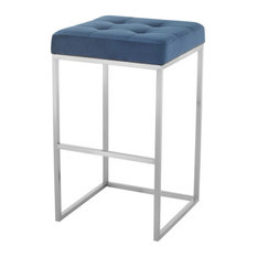 Chi Bar Stool With Brushed Stainless Steel Base, Peacock Blue