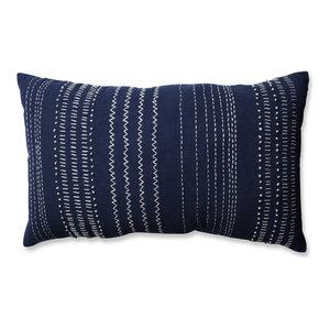 Pillow Perfect Tribal Stitches Rectangular Throw Pillow, Cream Gray, Navy/White