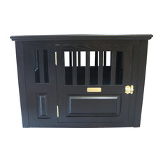 Malm Woodturnings   Wooden Dog Crate Medium Side Open Right, Espresso   Dog  Kennels And
