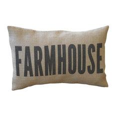 "Farmhouse Burlap Pillow, 12""x18"""