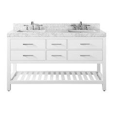 """Elizabeth Bath Vanity Set, White, 60"""", Brushed Nickle Hardware, Carrara White Ma"""