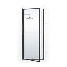 """Legend Framed Hinge Shower Door, Clear, Black, 24""""x64"""""""
