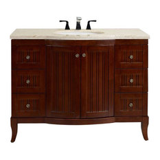 Odesa Zinc Bathroom Vanity With Crema Marfil Marble Counter Top