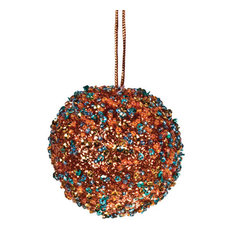 Copper/Turquoise Beaded Bauble, Set of 6, 65 mm