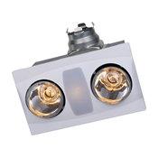 Aero Pure Fan A515AW 2 Bulb Quiet Bathroom Heater Fan With Light